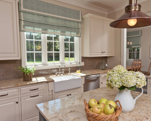 Elegant Kitchen Photo In Other With Matchstick Tile Backsplash, A Farmhouse  Sink, Granite Countertops