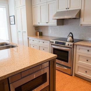 Shaker Cabinets, Traditional Design, Crown Molding, Cork Floor