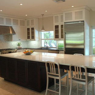 Example of a trendy l-shaped kitchen design in Miami with mosaic tile backsplash,. Save Photo. Shaker/Louver Solid Wood Custom made Kitchen Cabinets