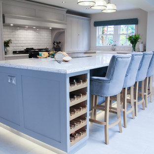 Shaker style kitchen with large island