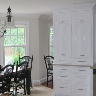 Traditional kitchen ideas - Inspiration for a timeless kitchen remodel in Toronto with recessed-panel cabinets, white cabinets, white backsplash, subway tile backsplash and stainless steel appliances