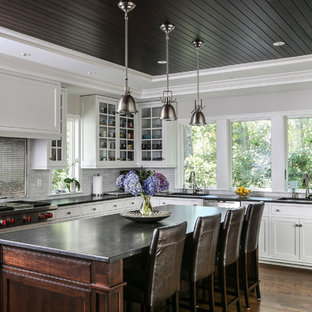 Traditional kitchen appliance - Example of a classic l-shaped dark wood floor and brown floor kitchen design in Boston with glass-front cabinets, white cabinets, metallic backsplash, metal backsplash, stainless steel appliances, an island and black countertops