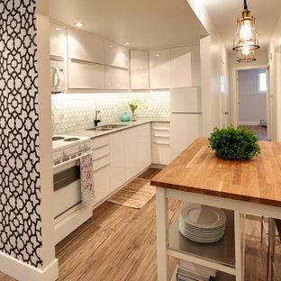 カルガリーの小さいモダンスタイルのおしゃれなキッチン (アンダーカウンターシンク、フラットパネル扉のキャビネット、白いキャビネット、クオーツストーンカウンター、グレーのキッチンパネル、石タイルのキッチンパネル、白い調理設備、クッションフロア、茶色い床) の写真