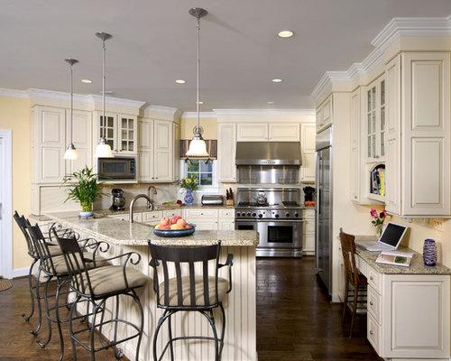 Elegant Kitchen Photo In DC Metro With Stainless Steel Appliances, Granite  Countertops, Raised