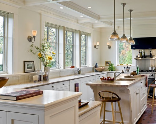 Kitchen Tile With White Cabinets tile floor with white cabinets | houzz