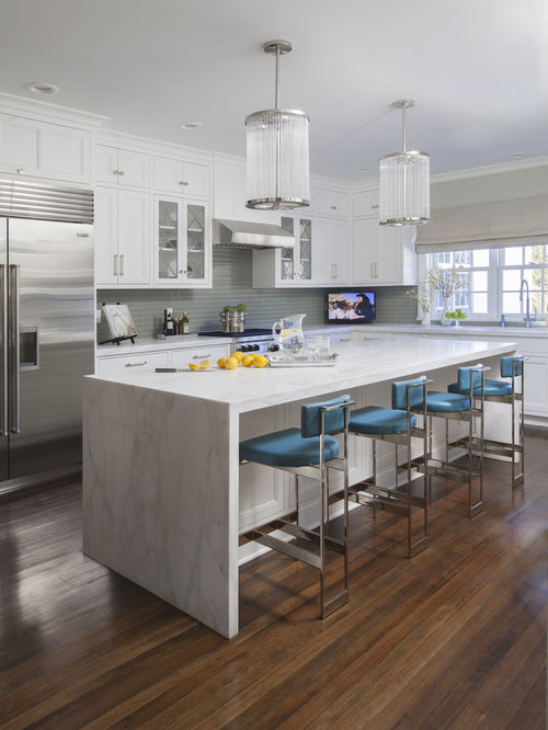 Example Of A Transitional L Shaped Dark Wood Floor Kitchen Design In New  York With