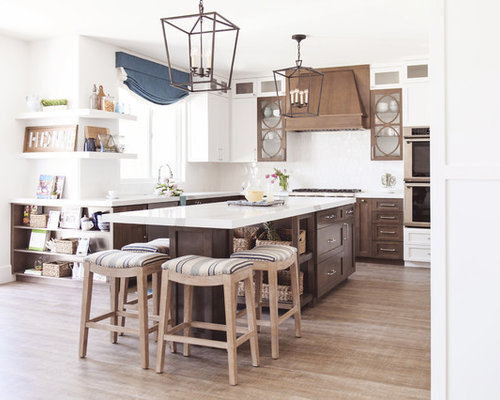 Inspiration For A Beach Style L Shaped Light Wood Floor And Beige Floor  Kitchen Remodel