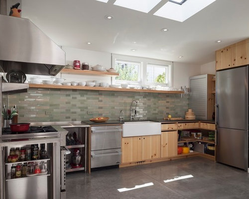 inspiration for a mid sized contemporary u shaped kitchen remodel in san francisco with - Basement Kitchen Designs