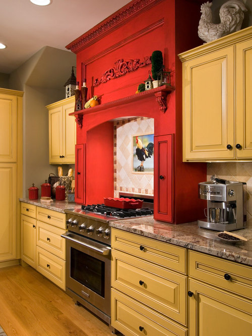 Yellow kitchen cabinets houzz for Kitchen cabinets houzz