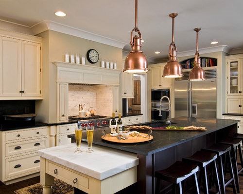 Nice Traditional Kitchen Idea In New York With Beaded Inset Cabinets, Stainless  Steel Appliances, Soapstone