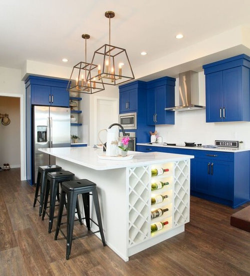 30 kitchen with blue cabinets and laminate floors design for Kitchen 919 reviews