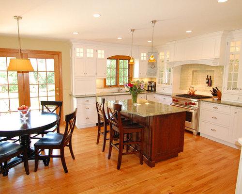wood floors in kitchen with wood cabinets. Mid sized elegant u shaped medium tone wood floor eat in kitchen photo White Kitchen Wood Floors  Houzz