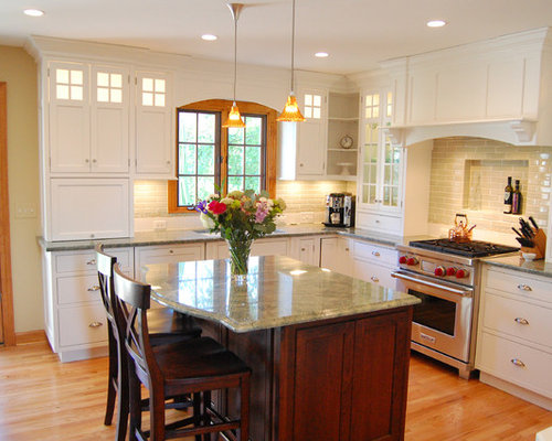 white vs stained kitchen cabinets green granite countertop houzz 29172