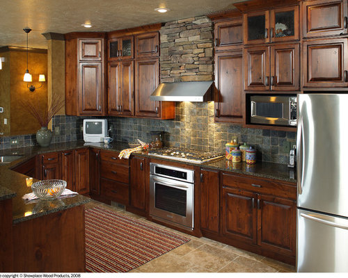 Rustic alder home design ideas pictures remodel and decor for Birch kitchen cabinets pros and cons