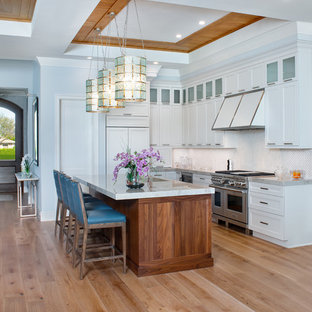 Transitional Kitchen Designs L Shaped Light Wood Floor And Beige Photo
