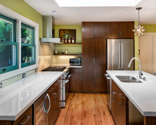Mid Sized Contemporary U Shaped Medium Tone Wood Floor And Brown Floor Open  Concept