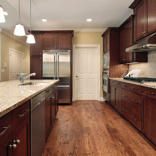 Mid-sized traditional single-wall separate kitchen in Chicago with a double-bowl sink, shaker cabinets, dark wood cabinets, granite benchtops, multi-coloured splashback, cement tile splashback, stainless steel appliances, dark hardwood floors and with island.
