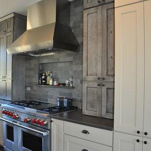 シアトルの大きいラスティックスタイルのおしゃれなキッチン (アンダーカウンターシンク、シェーカースタイル扉のキャビネット、ヴィンテージ仕上げキャビネット、クオーツストーンカウンター、グレーのキッチンパネル、石タイルのキッチンパネル、シルバーの調理設備の、無垢フローリング) の写真