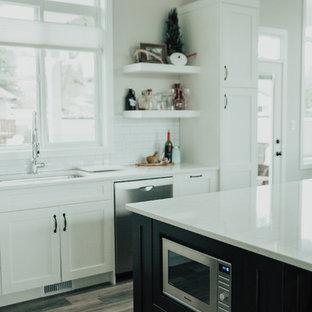 バンクーバーの中サイズのインダストリアルスタイルのおしゃれなキッチン (アンダーカウンターシンク、シェーカースタイル扉のキャビネット、白いキャビネット、珪岩カウンター、白いキッチンパネル、サブウェイタイルのキッチンパネル、シルバーの調理設備、クッションフロア) の写真