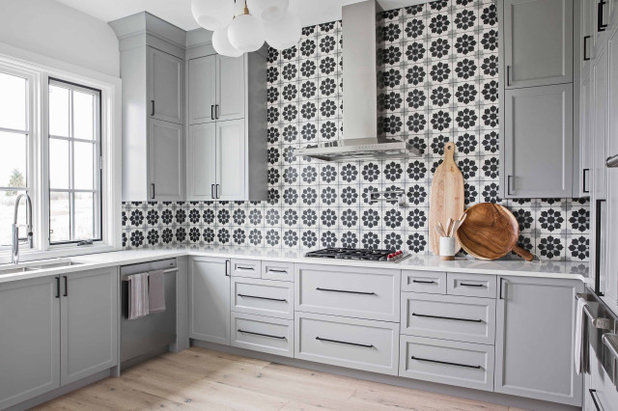 Transitional Kitchen by Reena Sotropa In House Design Group