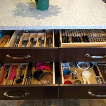 Silverware, knife, and utensil organization in island drawers