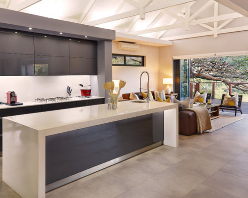 Inspiration For A Contemporary Open Concept Kitchen Remodel With Flat Panel  Cabinets And Gray Cabinets