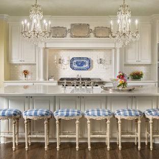 Inredning av ett klassiskt mycket stort vit vitt kök, med vita skåp, marmorbänkskiva, vitt stänkskydd, stänkskydd i marmor, rostfria vitvaror, mörkt trägolv, en köksö, brunt golv, en rustik diskho och luckor med upphöjd panel