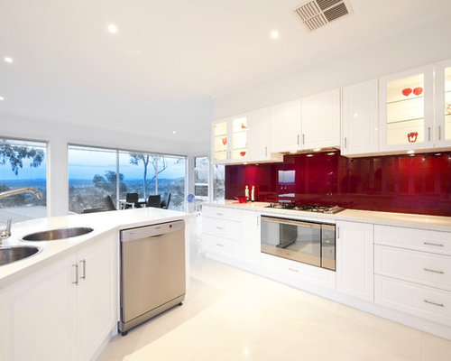 Inspiration For A Contemporary Eat In Kitchen Remodel In Melbourne With A  Drop In
