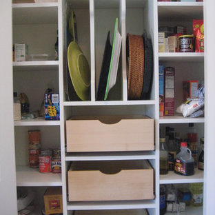 Inspiration for a small contemporary kitchen pantry in Other with open cabinets and white cabinets.