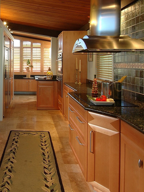 Kitchen   Contemporary Galley Kitchen Idea In Hawaii With Medium Tone Wood  Cabinets