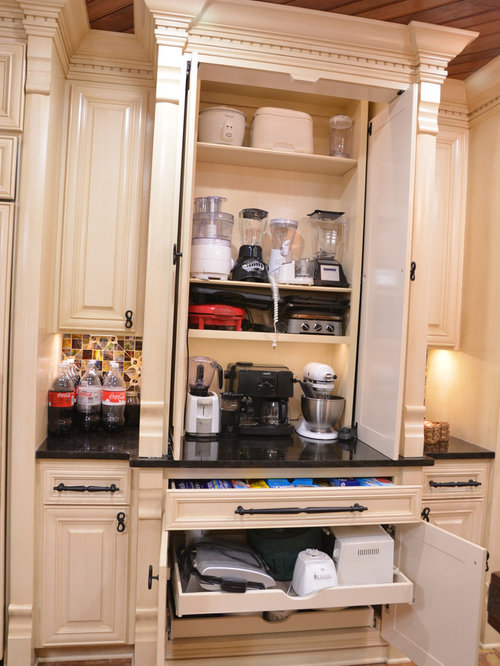 Small appliance storage houzz for Small kitchen appliance storage ideas