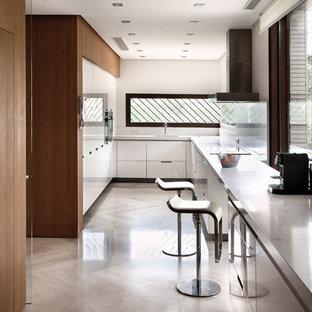 Imagen de cocina en U, minimalista, de tamaño medio, cerrada, sin isla, con armarios con paneles lisos, puertas de armario en acero inoxidable, electrodomésticos de acero inoxidable y suelo de madera clara