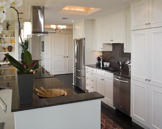 White Cabinet Dark Granite  Houzz