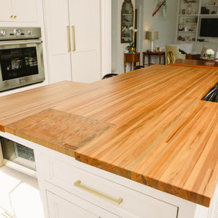Sinker Cypress Kitchen Island w/ Inset End Grain Cutting Board