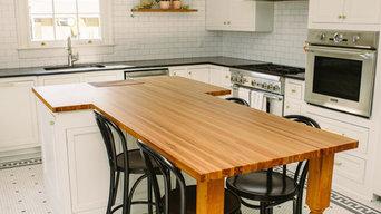 Sinker Cypress Kitchen Island w/ Inset End Grain Cutting Board