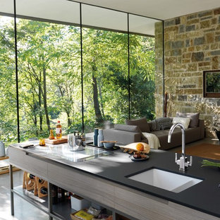 Contemporary kitchen in Manchester.