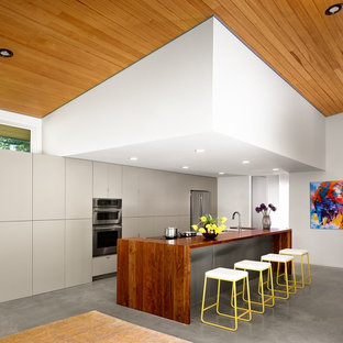 Midcentury galley open plan kitchen in Austin with flat-panel cabinets, grey cabinets, wood benchtops, stainless steel appliances, concrete floors and with island.