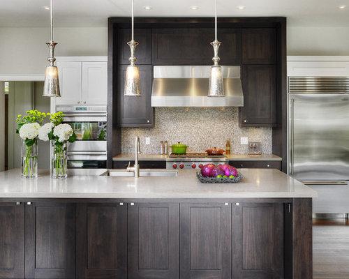 Kitchen with Brown Backsplash Design Ideas & Remodel ...