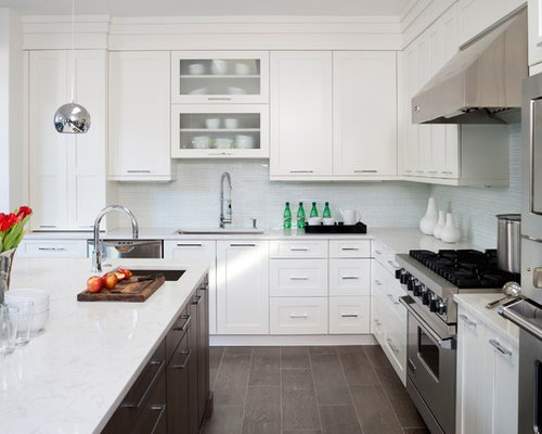 Transitional Ceramic Floor Kitchen Photo In DC Metro With Shaker Cabinets,  White Cabinets, Blue