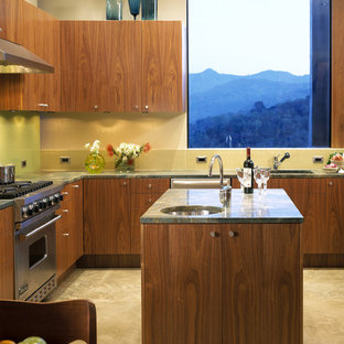 Kitchen - modern kitchen idea in San Francisco with flat-panel cabinets and medium tone wood cabinets