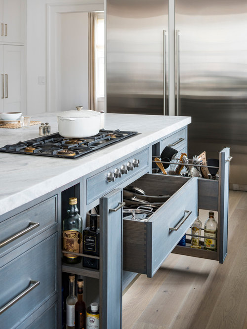 Transitional Kitchen Appliance   Inspiration For A Transitional Light Wood  Floor Kitchen Remodel In New York