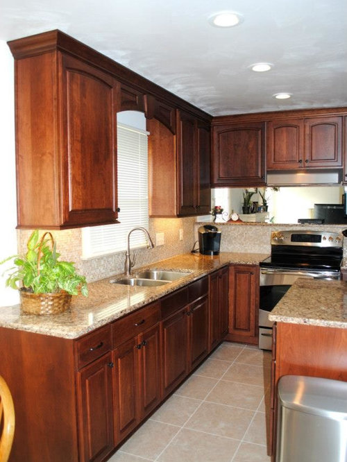 Traditional kitchen remodel with cherry cabinets and for Cambrian kitchen cabinets