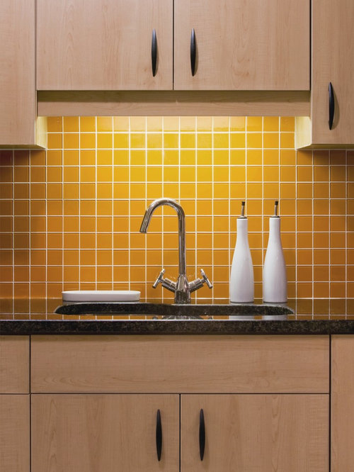yellow backsplash houzz