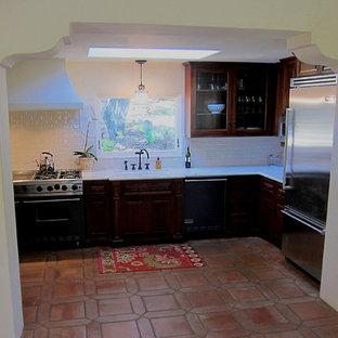 Small Galley Kitchen in Santa Barbara Spanish home