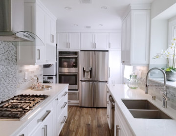 Small galley kitchen reconfiguration in Los Angeles