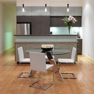 メルボルンの中サイズのアジアンスタイルのおしゃれなキッチン (フラットパネル扉のキャビネット、グレーのキャビネット、クオーツストーンカウンター、グレーのキッチンパネル、ガラス板のキッチンパネル、シルバーの調理設備、淡色無垢フローリング) の写真