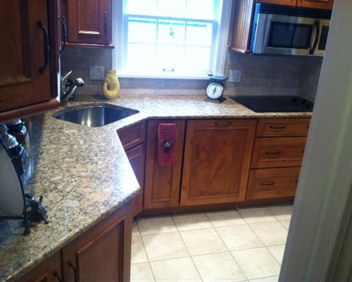 High Quality Small Mediterranean Galley Porcelain Floor Enclosed Kitchen Idea In Other  With An Undermount Sink, Recessed