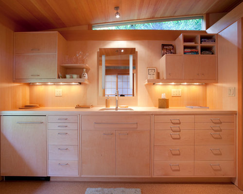 Kitchen Design Ideas Renovations Photos With Light Wood Cabinets And Cork Flooring