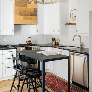 Small San Diego Kitchen with White IKEA Cabinets and Black Quartzite Countertops