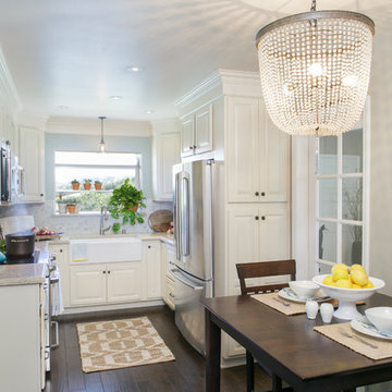 Small White Kitchen with Farmhouse Sink in Poway